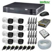 CÂMERAS DE SEGURANÇA INTELBRAS KIT COM 08 UNIDADES HD 720P COM GRAVADOR DVR E ACESSO INTERNET