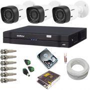 Kit cftv com 3 Câmeras Intelbras 1010B 12 leds infravermelho resolução de 1.0 Megapixel + DVR com acesso via internet