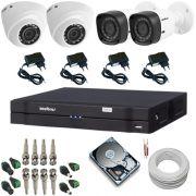 Kit Cftv Intelbras 2 Câmeras Dome 1010D 1.0 MP + 2 Câmeras Bullet 1010B 1.0 MP + DVR 4 Canais Multi HD