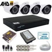Kit Cftv 4 Câmeras de Segurança Infravermelho AHD 1.3 Mp + DVR Luxvision alta definição