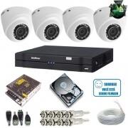 Kit Intelbras 4 Câmeras 1010D Multi HD 1.0 Megapixel + DVR 4 canais Multi HD