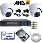 Kit Vigilância 2 Câmeras Dome de Metal AHD 1.3 Megapixel DVR Stand Alone Multi HD