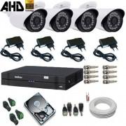 Kit 04 Câmeras AHD 1.3 Mp Alta Definição + Dvr Intelbras Completo - Acesso Celular