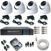 Kit 04 Câmeras de Segurança Dome Metal AHD 1.3 Megapixel Dvr Multi HD 5 em 1