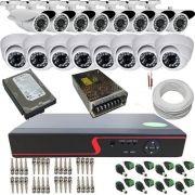 Kit 16 Câmeras de Monitoramento Infravermelho AHD 720p DVR Multi HD 16 Canais - Acesso Remoto