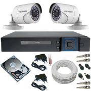 Kit 2 Câmeras Full HD 2.0 Megapixel 12 Leds Infravermelho + DVR Multi HD 4 canais