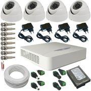 Kit 4 Câmeras de Segurança Dome Infravermelho AHD 1.3 Megapixel 720p + DVR JFL 4 Canais