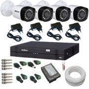 Kit 4 Câmeras híbridas Infravermelho 1 Megapixel 720p DVR Intelbras 4 Canais Acesso Via Internet