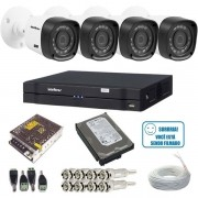 Kit 4 Câmeras Intelbras Infravermelho 1010B Multi HD 1.0 Mp  DVR 4 Canais intelbras + HD 1Tb