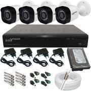 Kit 4 Câmeras Segurança Luxvsion AHD 1 Megapixel Dvr Luxvision 4 Canais Acesso Via Internet - Alta Definição