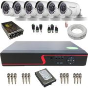 Kit 6 Câmeras de Segurança Hikvision Full HD 1080p 2.0 Mp DVR 8 Canais - Alta Definição