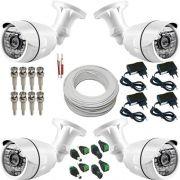 Kit Básico 4 Câmeras de Segurança 30 Leds Infravermelho com Resolução em AHD 1.3 Mp