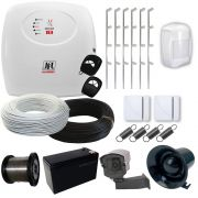 Kit Cerca Elétrica 120 Metros + Sensores Alarme Sem fio + Discadora- Genno
