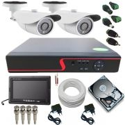 Kit CFTV 2 Câmeras AHD 1.3 Mp 24 Leds Infravermelho DVR Multi HD 4 Canais + Monitor