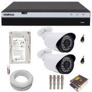 Kit Cftv 2 Câmeras Infravermelho Full HD 2 Megapixel 1080p DVR Intelbras 4 Canais Full HD