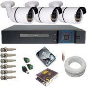 Kit Cftv 3 Câmeras Infravermelho AHD 1.3 Megapixel 720p DVR Multi HD 4 Canais - Acesso Via Celular