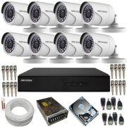 Kit Cftv 8 Câmeras Hikvision 1 Megapixel HD 720p Gravador DVR Hikvision 8 Canais - Alta Definição