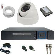 Kit CFTV com 1 Câmera Analógica 1000 Linhas de resolução 24 Leds Infravermelho + DVR Multi HD