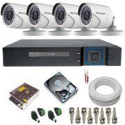 Kit cftv com 4 Câmeras Full HD 1080p resolução de imagem 2.0 Megapixel + DVR Stand Alone