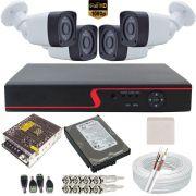 Kit Cftv Completo 4 Câmeras Full HD 1080p 2.0 Mp + Gravador DVR 4 Canais Multi HD 1080N