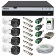 Kit Cftv Intelbras 4 Câmeras 1220B Full HD 1080p 2 Megapixel DVR MHDX 3004 Full HD 1080p