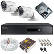 Kit Completo Hikvision 02 Câmeras Full HD 1080p 2.0 Mp Dvr 4 Canais Full HD 5em1