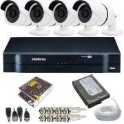 Kit de Monitoramento 4 Câmeras 36 leds Infravermelho AHD 1.3 Megapixel + DVR Intelbras 4 Canais