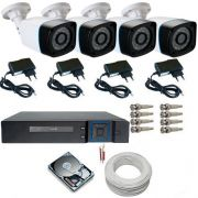 Kit de Monitoramento 4 Câmeras AHD 24 Leds Infravermelho + DVR Stand Alone Multi HD 5 em 1