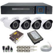 Kit de Monitoramento 4 Câmeras Infravermelho Full HD 1080p 2.0 Mp - DVR 4 Canais Acesso Remoto