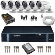 Kit de Monitoramento 6 Câmeras Full HD 1080p 2.0 Mp 42 Leds Infra + DVR Intelbras
