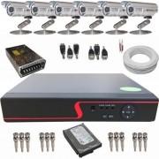 Kit de Monitoramento com 6 Câmeras Analógicas 1200 linhas + DVR 8 canais com acesso via internet