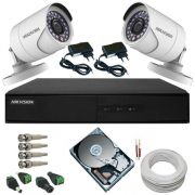 Kit Monitoramento Hikvision 2 Câmeras HD 1.0 Megapixel 720p DVR Stand Alone 4 Canais - Alta Definição