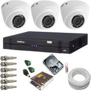 Kit de Monitoramento Intelbras 3 Câmeras Dome 1010D 1 Megapixel Infravermelho DVR 4 Canais Multi HD