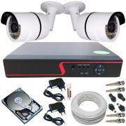 Kit de Monitoramento Residencial e Comercial 2 Câmeras Digitais 36 Leds Infravermelho + DVR 4 Canais