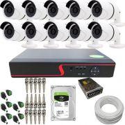Kit Monitoramento 10 Câmeras Infravermelho 1.3 Megapixel 720p DVR 16 Canais - Acesso via Internet