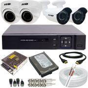 Kit Monitoramento 2 Câmeras Bullet Full HD 2.0 Mp + 2 Câmeras Dome Full HD 2.0 Mp DVR 4 Canais Acesso p2p