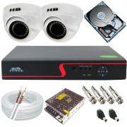 Kit Monitoramento 2 Câmeras Dome Híbridas 2 Megapixel Full HD 1080p + Gravador DVR 4 Canais Acesso Remoto