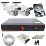 Kit Monitoramento 2 Câmeras Infravermelho Digitais 1.3 Megapixel DVR Multi HD 4 Canais Acesso Via Celular