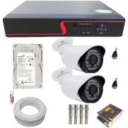 Kit Monitoramento 2 Câmeras infravermelho Full HD 2 Megapixel 1080p + DVR Stand Alone 4 Canais