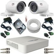 Kit Monitoramento 2 Câmeras JFL Híbrida Infravermelho AHD 1.0 Mp + DVR JFL 4 canais