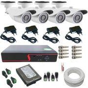 Kit Monitoramento 4 Câmeras 24 Leds Infravermelho AHD DVR 4 Canais - Acesso via Celular