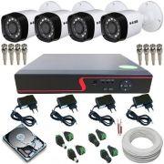 Kit Monitoramento 4 Câmeras Híbridas Infravermelho 720p 1 Megapixel + DVR 4 Canais Multi HD