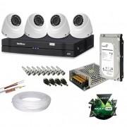 Kit Monitoramento 4 Câmeras Intelbras Dome 1010D VHD 1.0 Mp DVR Intelbras 8 canais + HD de 1 TB