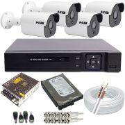 Kit Monitoramento 4 Câmeras Starlight Full HD 1080p 2.0 Megapixel DVR 4 Canais Acesso Nuvem