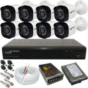 Kit Monitoramento Completo Luxvision 8 Câmeras Digitais 1.0 Megapixel + DVR 8 Canais Acesso Via Celular
