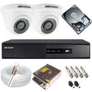 Kit Monitoramento Hikvision 2 Câmeras Full HD 1080p 2.0 Mp + DVR 4 Canais Full HD - Alta Definição