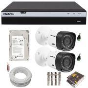 Kit Monitoramento Intelbras Full HD 2 Câmeras 1220B Full HD 1080p 2 Megapixel DVR MHDX 3004 Full HD