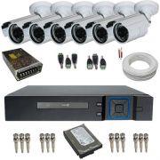 Kit Monitoramento Residencial 6 Câmeras infravermelho AHD 1.3 Mp 720p DVR 8 Canais Acesso Nuvem