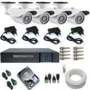Kit Sistema de Monitoramento Completo 04 Câmeras Infra AHD 1.3 Mp + DVR Multi HD 5 em 1