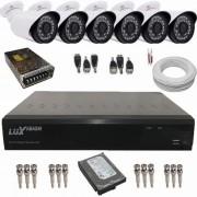 Kit Vigilância 06 Câmeras AHD 1.3 MP + Gravador DVR Luxvision 8 Canais ECD ALL HD Acesso via Internet